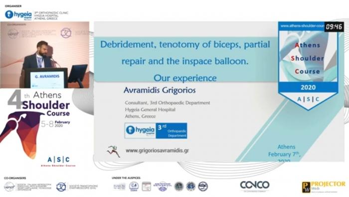 Oral Presentation in 4th Athens Shoulder Course. Ομιλία στο 4ο Διεθνές Συνεδρίου Ώμου στην Αθήνα